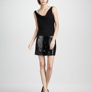 DIANE Von FURSTENBERG Tadd Dress Black Silk Sequin